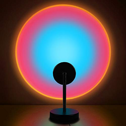 Sunset Lamp, Projector Rainbow Light 10W LED Projection Night Light 180 Degree Rotation Romantic Rainbow Light USB Charging for Photography Party Home Living Room Bedroom Decor, Rainbow