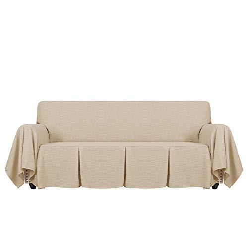 MAXIJIN Fundas de sofá de 1 Pieza Tipo Lino, Fundas de sofá de 3 plazas, Fundas de sofá Ajustadas con Volantes, Fundas de sofá para Sala de Estar (3 plazas, marrón)