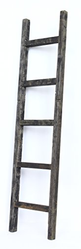 BarnwoodUSA Rustic Farmhouse Decorative Ladder - Our 5 ft Ladder can be Mounted Horizontally or Vertically and is Crafted from 100% Recycled and Reclaimed Wood | No Assembly Required | Black