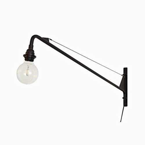 LSJDP Vintage Industrie Wandleuchte mit Schalter, Verstellbar Metall Schmiedeeisen Schwarz Wandlampe Retro Gang Langstab Freitragende LED Wandlampen für Wohnzimmer Schlafzimmer Loft E27