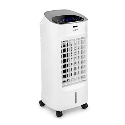 oneConcept Coolster - Climatizador evaporativo, enfriador de aire, ventilador, ionizador, humidificador de aire, 4 en 1, 65 W, tanque 4 L, temporizador, oscilación, mando a distancia, blanco floral