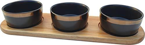 Premium Snackschalen Set auf Holz, Creme Brulee Schälchen, Dessertschalen Saucenschälchen Servierschalen Set kleine Schalen für Dip Dipschalen Snackteller Souffle Förmchen Servierteller Vorspeisen