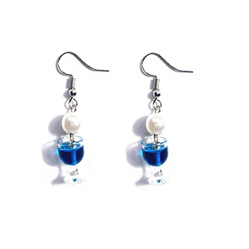 Mvude - Pendientes de vino tinto, Plástico/resina., Color azul., ver descripción