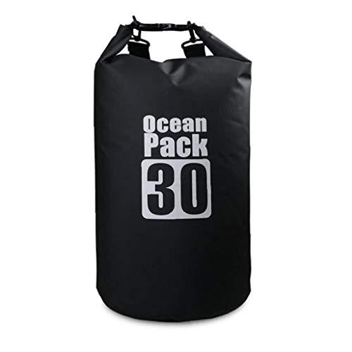 Tuimiyisou Bolsa Impermeable Seco 30l Piscina Mochila con Correa Ajustable para El Kayak Canotaje Deriva Negro