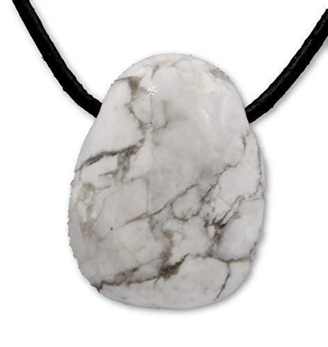 Taddart Minerals - Colgante de piedra blanca y gris de la piedra preciosa natural magnesita con cadena de cuero