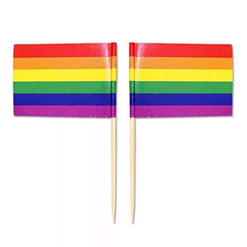 Aeromdale Mini-Regenbogen-Flagge, Zahnstocher, 50 Stück/Beutel, Lesben, Gay Pride, LGBT, Transgender, Pansexuell, Bisexuell, Brootherhood Teil B – # B – 100 Stück
