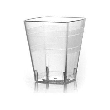 Elegante–plástico reutilizable cuadrado vasos de chupito–2OZ (55ml), transparente con diseño de 18pcs.