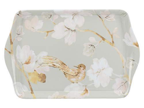 Creative Tops - Mini vassoio da tè per gioielli, lettere e chiavi con motivo floreale, in melammina, colore: Blu uovo d'anatra, 21 x 14 cm