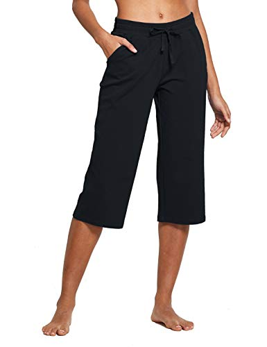 BALEAF Women's Active Yoga Lounge Indoor Jersey Capri Pocketed Walking Crop Pants Black Size XXL