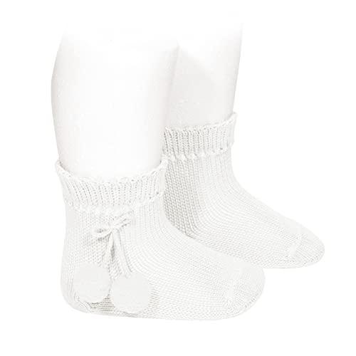 Condor - Calcetines cortos perlé con borlas - BEBE Y NIÑA (BLANCO, 4)