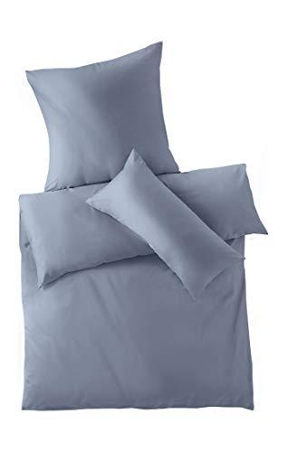 hessnatur Satin-Bettwäsche aus Reiner Bio-Baumwolle graublau 135x200+40x80 cm