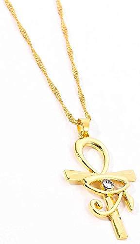 Yiffshunl Collar Mujer Colgante de Cruz egipcia, Collar para Mujeres/Hombres, Collares de Ojo de Horus de Color Dorado, Cadena Religiosa, joyería de Egipto, Regalos