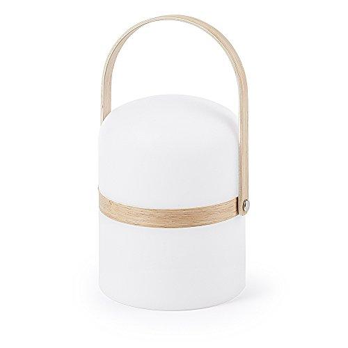 Kave Home - Lámpara de sobremesa Ridley blanca regulable de polipropileno y asa de madera