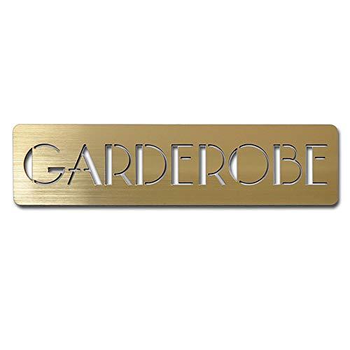 Schilder für Hotel & Gastro Garderobe Sauna Schwimmbad Schild Piktogramm Hinweis Schild selbstklebend – 20 x 4cm, gold