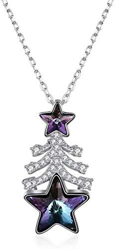 JIUJIN S925 Silver Crystal Christmas Tree Star necklace galvanized punk rock casting pendant aviation 60 cm Purple