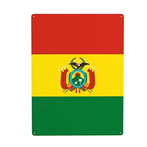 Bolivien-Flagge, National-Symbol, Metall-Blechschild, Wanddekoration, Kunstgemälde für Café, Bar, Pub, für drinnen & draußen, lustiges Wandbehang