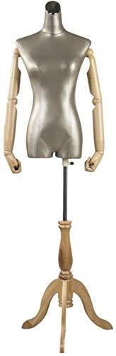 ZSY Maniquíes de Costura Código de Vestimenta de la PU del Cuerpo con Las Manos de plástico y la Pantalla del Modelo de trípode de Madera para el Vestido de Ropa (Color : Champagne)