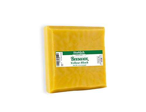 Stakich Yellow Beeswax Block  Natural Triple Filtered  1 Pound
