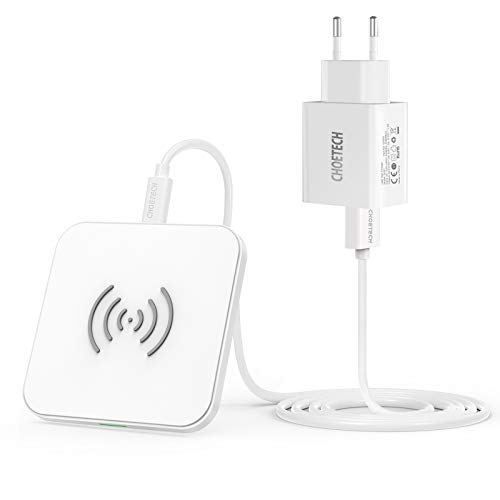 CHOETECH Kabelloses Ladegerät mit Adapter, kabellos, 7,5 W, für iPhone 12 Mini/12 Pro Max/11 Pro/XS/XR/X/8 Plus/SE 2020,10 W Samsung S20/S10/Note 20/S9/S8+/N. 8, Airpods Pro