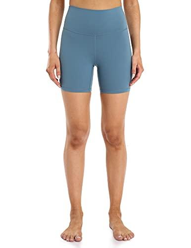 YUNOGA Women's High Waisted Yoga Short 6' Inseam Workout Athletic Biker Shorts (S, Steel Blue)