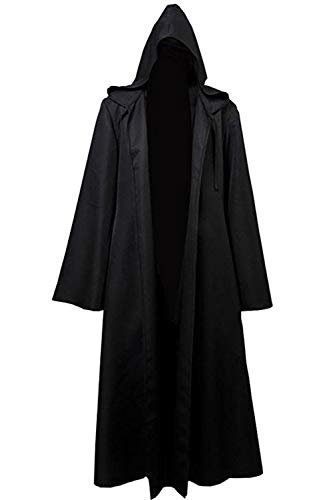 8019 – Jedi Star Wars Zauberer Mönch Kostüm Umhang Bademantel - Schwarz - Large