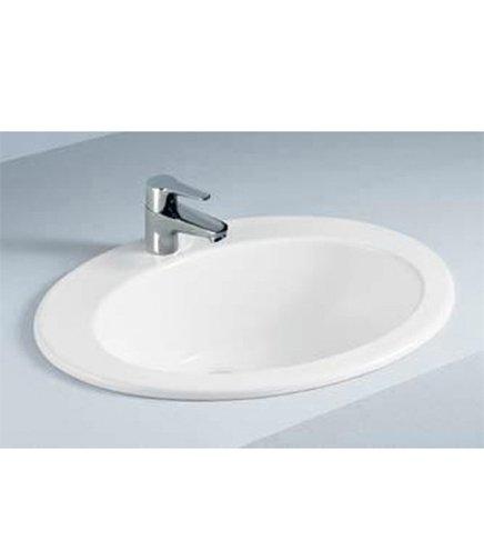 Lavabo lavandino soprapiano da incasso in ceramica bianca, misura cm.63,5