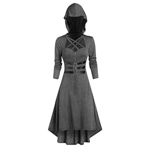 AmyGline Gothic Kleidung Damen Vintage Retro Kleid mit Kapuze Langarm Zip Bandage Mittelalter Kleid Lange Mantel Festival Party Kostüm
