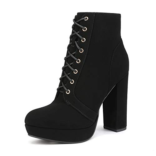DREAM PAIRS Women's Black Nubuck Lace up Chunky High Heel Ankle Boots Size 9 M US Kendra