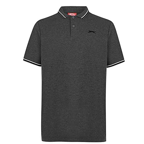 Slazenger Hombre Tipped Camiseta Polo Carbón Margoso 4XL