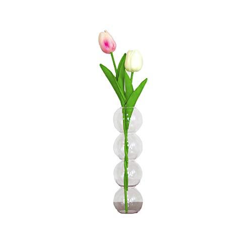 フラワーベース 4連バブル 造花チューリップ2本セット クリアガラス 花瓶 韓国 人気 インテリア オブジェ おしゃれ 雑貨 花 一輪挿し (グラデーションピンク+ホワイト)