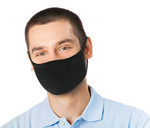 4 Pk Unisex Black Washable Reusable Face Mask & Mouth Cover for Men and Women -2 Layers Breathable Cotton Fabric - Made in USA