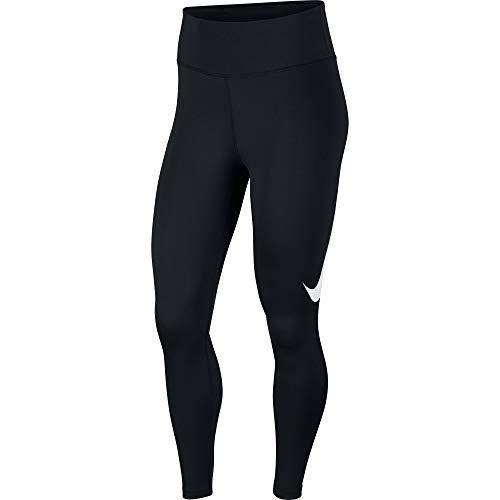 Nike Womens W Nk Tght 7_8 Swsh Run Leggings, Black/Reflective Silver, M