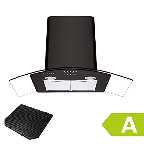 CIARRA CBCB9506B 90cm Glass Chimney Cooker Hood 650 m³/h Class A with Carbon Filter Curved Canopy Hoods Recirculating Duct Ventilation 900mm Kitchen Range Extractor Fan Black