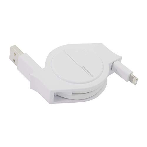 オウルテック 超タフシリーズ 耐屈曲30,000回 巻取りライトニングケーブル Apple認証 iPhone/iPad/AirPods/AirPods Pro用 2年保証 120cm ホワイト AO-CBRKLT12-WH