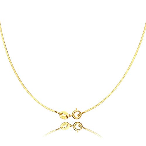 Jewlpire Gold Chain Necklace for Women - 0.8mm Box Chain 18K Gold Plated Sterling Silver Chain with Upgraded Spring-Ring Clasp - Italian Necklace Chain - Super Thin & Strong 16/18/20/22/24 Inch