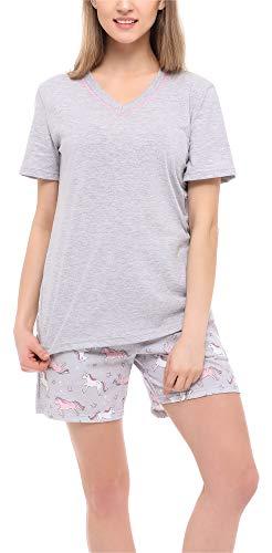 Merry Style Pijama Conjunto Camiseta y Pantalones Ropa de Cama Mujer MS10-231 (Melange/Unicornio, XXL)