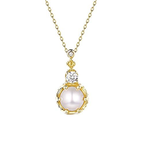 DTKJ Brillante Diamante Gargantilla Oro 18k Cadena Diamantada 45cm Perla 5.5—6mm