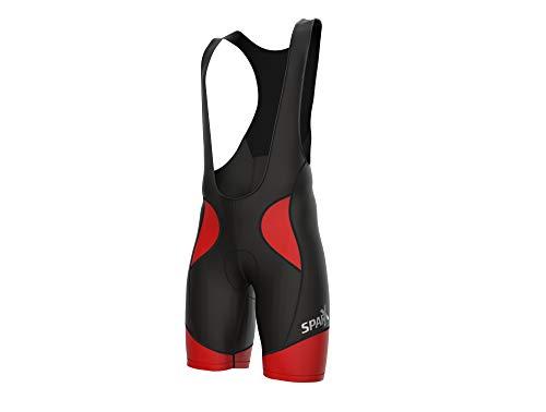 Sparx Men Cycling Bib Shorts Bicycle Bike Racing Bibs Short Padded (Medium, Black/Red)