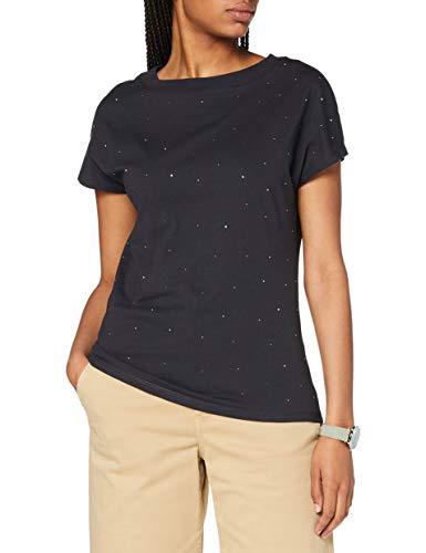 Street One Damen 315228 Kurzarmshirt mit Glitzer Steinen und leichtem Stehkrage T-Shirt, neo Grey, 42