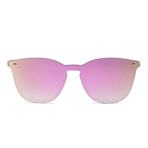 Gafas de Sol Sin Montura Una Pieza de Espejo Reflexivo Anteojos Para Hombre Mujer(Transparente Mate/Rosa Espejo)