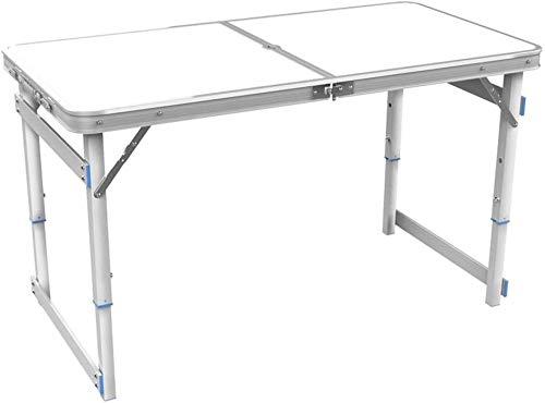 FANg Sólido Mesa Plegable de Madera Mesa Plegable Mesa de Picnic 120x60x70cm aleación de Aluminio de Camping Altura de la Mesa Plegable Ajustable Formato Maleta Escritorio portátil (Color : A-White)