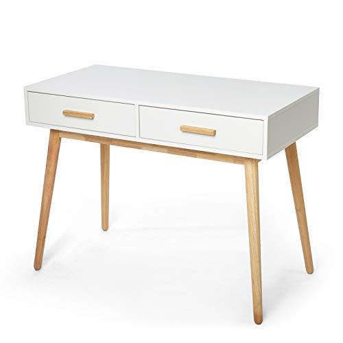 Meerveil Schreibtisch, Computertisch mit 2 Schubladen Massivholzbeine Modern Einfach für Arbeitszimmer Schlafzimmer und Büro, 100 x 48 x 75 cm, Weiß