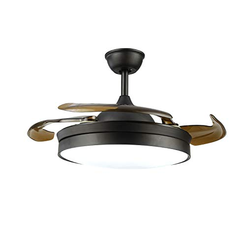 Ventilador de techo LED con iluminación, 3 colores, 220 – 240 V, 4 cuchillas retráctiles, moderno ventilador invisible