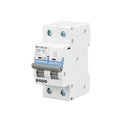 POPP Interruptor Automático Magnetotérmico 2P serie MSC82 gama Industrial CURVA C corte 6000A 6A,10A,16A,20A,25A,32A,40A,63A Pack 6,12 (32A, Pack 6)