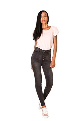 Crazy Age Damen Jeans Hose | 5 Pocket Denim | High Waist Jeans | Frauendenim in Herbstfarben |Super Skinny | Ultra Soft |Skinny | Stretch (Anthrazit(Q1808-5), XL~40)