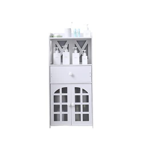 Armario para puerta doble con cajón de lino para baño, color blanco