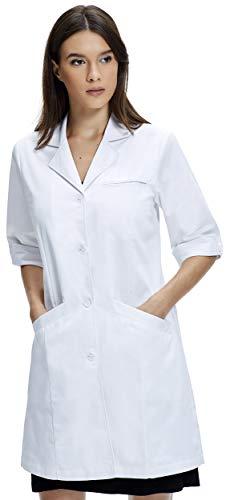 Dr. James Bata de Laboratorio Mujer, Corte Clásico, Mangas 3/4 (38 (L))