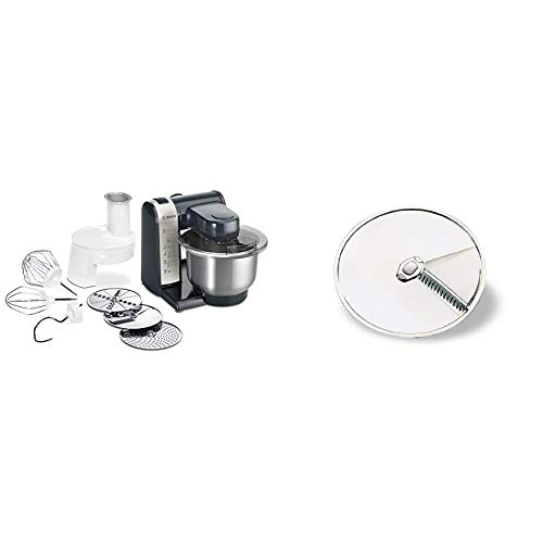 Bosch MUM48A1 Küchenmaschine, Kunststoff, 3.9 liters, schwarz & MUZ45AG1 Asia-Gemüse-Scheibe aus Edelstahl / für Durchlaufschnitzler zu Bosch Küchenmaschinen MUM4... MUM5...