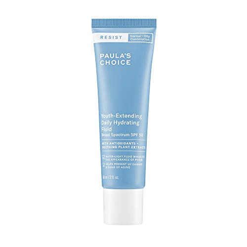 Paula's Choice RESIST Daily Hydrating Fluid Face Moisturizer SPF 50, UVA & UVB Protection, Chamomile & Vitamin E, Sunscreen for Oily Skin, 2 Ounce