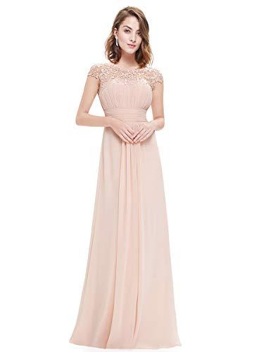 Ever-Pretty Damen A-Linie Abendkleid Spitze Festliches Kleid Frauen Zeremonie Lange Blush 42